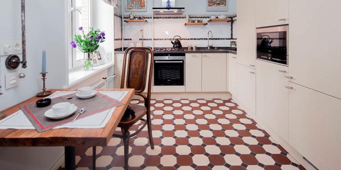 Кухня с метлаханской плиткой