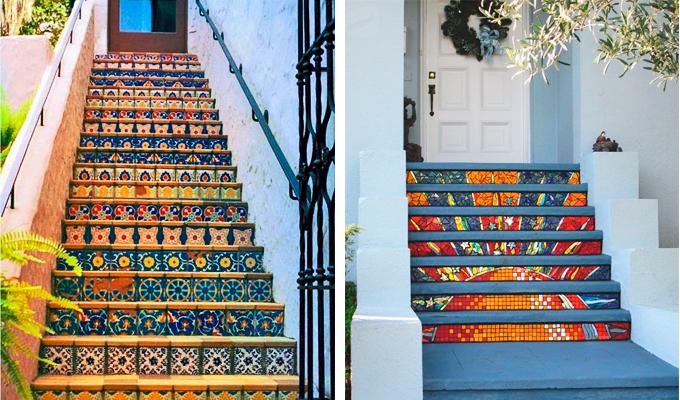 Лестница из старой керамики